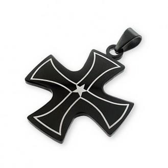 """Ocelový přívěsek z chirurgické oceli """"Černý kříž"""""""
